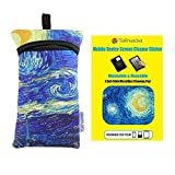 Tainada iPhone X, 8, 7, 6, SE Shockproof Phone Neoprene Sleeve Carry Case Bag Pouch with Carabiner and Lanyard + Mobile Device Screen Cleaner Sticker Bundle Set (Starry Night, iPhone X (Length 5.7''))