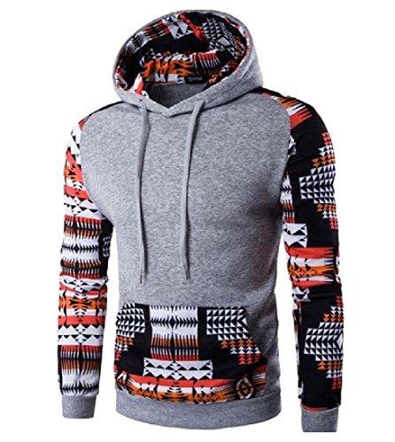 Price comparison product image VividYouMen VividYou Men Geometric Shape Pattern Stitching Drawstring Sweatshirt Pullover Light Grey L