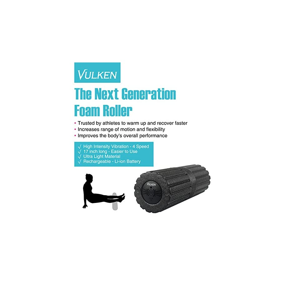 """Vulken 4 Speed High Intensity 17"""" Vibrating Foam Roller Deep Tissue Massager for Muscle Recovery (Old Black, Large)"""