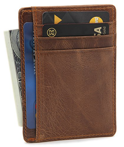 Pocket Billfold - DEEZOMO RFID Blocking Genuine Leather Credit Card Holder Front Pocket Wallet With ID Card Window - Crazy Horse Tan