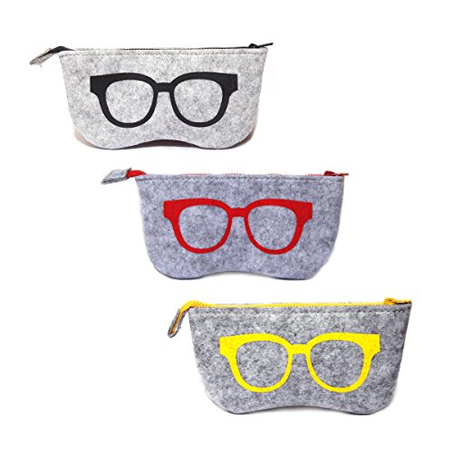 Womens 3 Eye (3 Pack Eyeglass Case Pouch, Polersun Portable Soft Felt Sunglasses Case Zipper Ultra Light Glasses Makeup Storage Pouch (Black+Yellow+Pink))