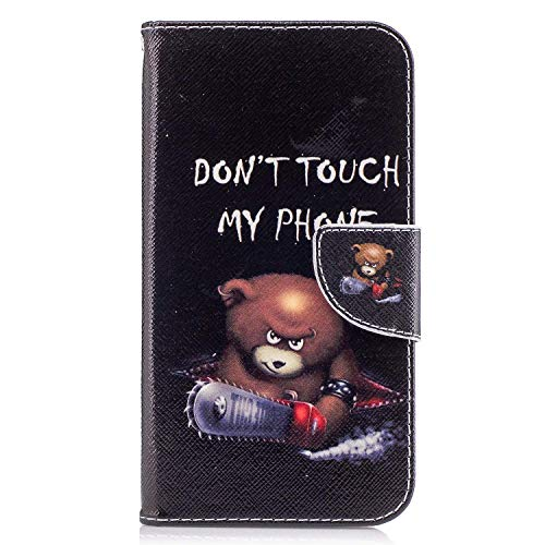 Galaxy J7 Perx Case, Galaxy J7 Sky Pro Case, Galaxy J7 V 2017 Case, Jenny Shop Premium Pu Leather Flip Folio Stand Feature Magnetic Closure Protective Shell Wallet Case with Card Slot (Teddy Bear)