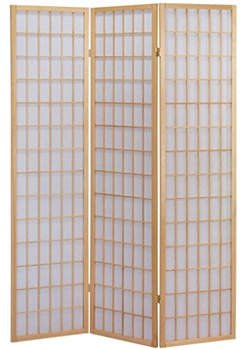 Legacy Decor 3 Panel Japanese Oriental Style Room Screen Divider Natural Color ()