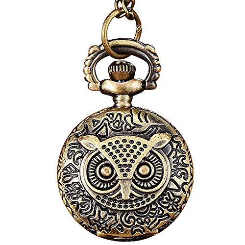 (lightclub Birds/Tower/Owl/Flower Vintage Bronze Pendant Necklace Chain Quartz Pocket Watch Fob Watch 13#)
