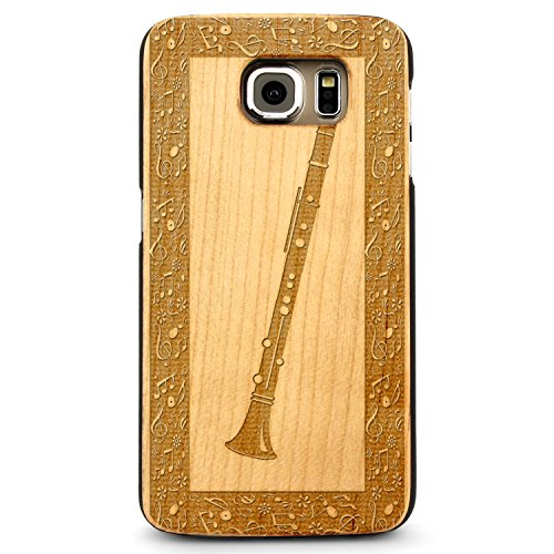 Laser Engraved Wood Case Galaxy S8 – Carinet Oboe Classical Music (Maple Case)