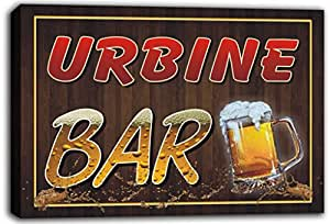 scw3-091370 URBINE Name Home Bar Pub Beer Mugs Cheers Stretched Canvas Print Sign