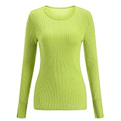 Sseary Women Crewneck Basic Lightweight Cozy Cashmere Knit Pullover Sweater Mustard Green M