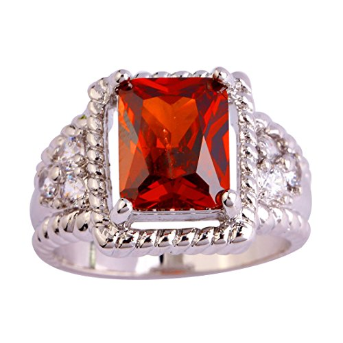 Lingmei Women Personalized Costume Jewelry Emerald Cut Garnet Red Stone Silver Plated Ring US Size - Garnet Cut Fashion Ring