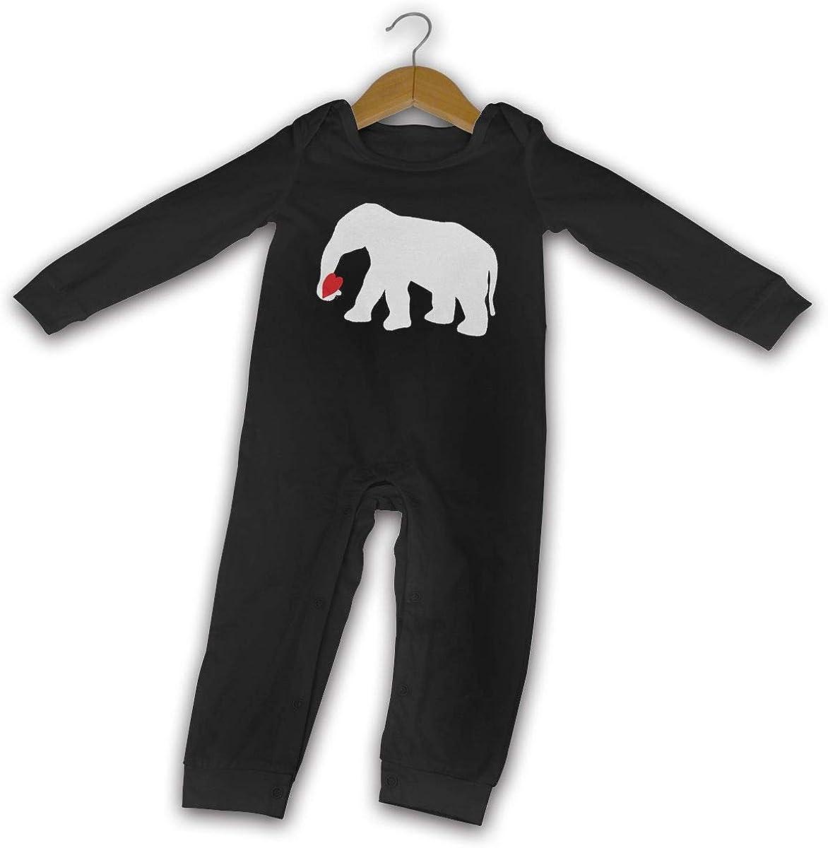 Cute Elephant Love Heart Printed Baby Bodysuit Long Sleeve Romper Black