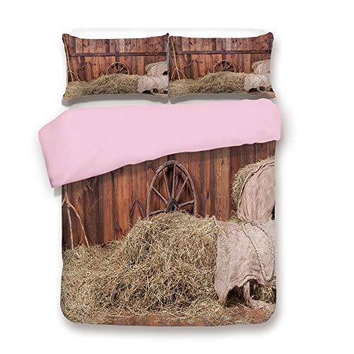 Pink Duvet Cover Set,Full Size,Rural Old Horse Stable Barn Interior Hay and Wood Planks Image Print Decorative,Decorative 3 Piece Bedding Set with 2 Pillow Sham,Best Gift for Girls Women,Brown -