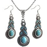 New Womens Turquoise Antique Silver Plated Necklace Hook Earrings Set #T01 Gift#by pimchanok shop