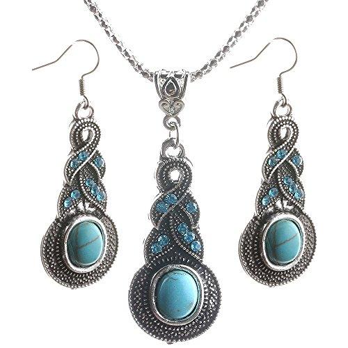 New de la mujer chapada en plata envejecida Collar Turquesa gancho arete Set # T01regalo # por pimchanok tienda