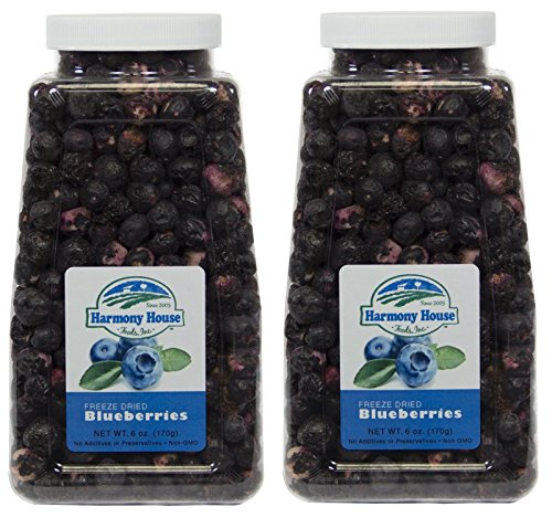 Harmony House Foods Freeze-Dried Whole Blueberries (6 oz, Quart Size Jar) - Set of 2 (Baby Food Dehydrated)