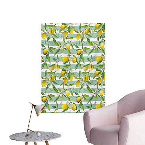 Anzhutwelve Nature Wall Paper Blooming Lemon Tree on Striped Paintbrush Background Evergreen ArtFern Green Seafoam Yellow W32 xL36 The Office Poster