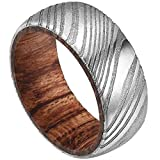 DOUX Mens 8mm Rare Damascus Steel Wedding Ring Real Wood Inlay Engagement Band Statement Ring Dome Style 8.5