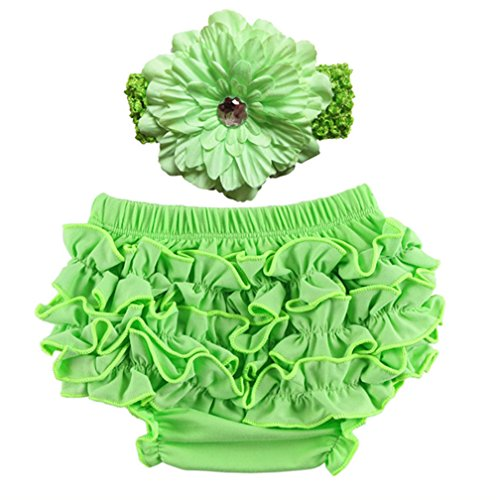 CHUNG Baby Girls Lace Ruffle Diaper Cover Bloomer and Headband SET(2 Pack), Green, 0-6 Months