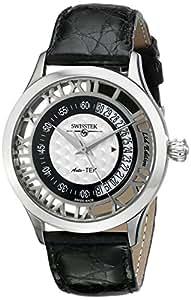 Swisstek SK52709G Limited Edition Automatic Diamond Watch, Crocodile Strap, Sapphire Crystal And Sapphire Exhibition Caseback