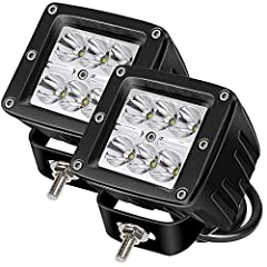 Package include: -2 x 18w Spot led Work lights  -necessary mounting brackets Description:  LED Power: 18W ( 6pcs*3w high intensity LEDS  Operating Voltage: 10-30V DC Waterproof rate: IP 67  Color Temperature: 6000K Material: Diecast aluminum ...