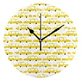 Shadimi - New York City NYC Taxis Round Acrylic Wall Clock Silent Non Ticking 10 Inch