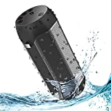 Hompot Portable Bluetooth Speakers IPX6 Waterproof, 12W Dual Drivers & Rich Enhanced Bass, Built in Mic for Hands free Calling, 24H Playing Time with TF Card and FM Radio for Camping, Beach, Shower