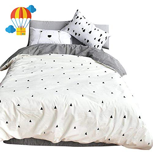 BuLuTu Cotton Full Kids Duvet Cover Set White Forest Bear Series 3 Pieces Reversible Soft Promotional Triangle Print Queen Comforter Cover Zipper Closure with 4 Corner Ties for Teen Boys Girls -