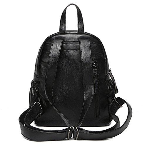 mefly hombro bolsa nueva tendencia mochila moda hombres y mujeres bolsas, negro negro