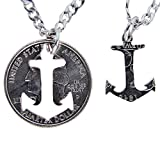 MaryCrafts Set Hand Coin Cut Anchor Necklace Interlocking Necklace Jewelry Relationship BFF 22''