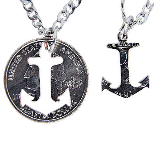 (Marycrafts Set Hand Coin Cut Anchor Necklace Interlocking Necklace Jewelry Relationship BFF 20
