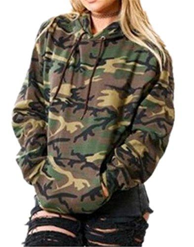 Simpatiche Tasca Mimetico Hoodies Cappuccio Outwear Sportive Felpa Autunno Lunga Sweatshirt Allenamento Felpa Tayaho Manica Green Con Frontale Donna Felpa fAqvvBw