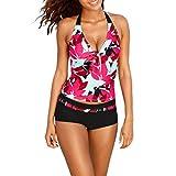 Yukong Women Tankini Bikini Two Piece Bikini Set Swimsuit Beachwear Swimwear Print Halter Top+Boyshorts (Asian Size XXXL, Red)