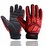 Anti Vibration Impact Gloves Heavy Utility Mechanic Safety Work Gloves with SBR Padding TPR Protector Red (Large)