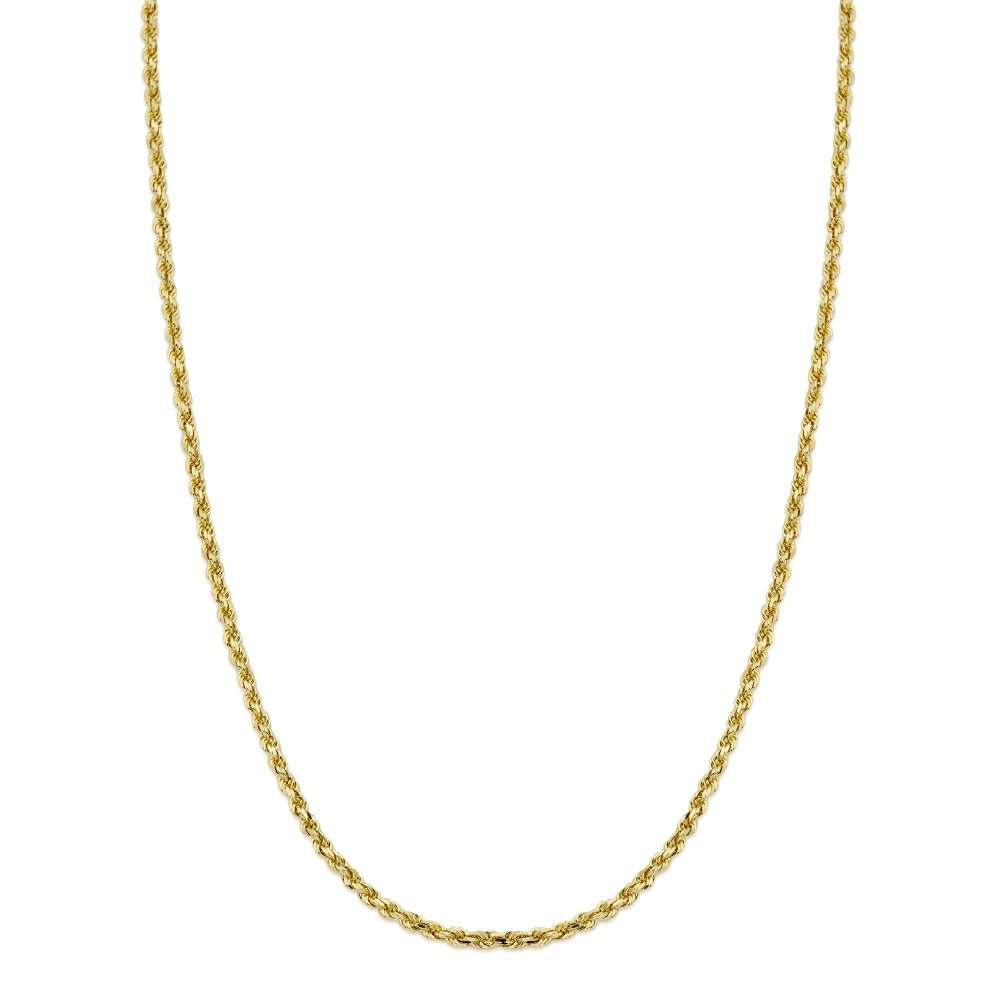 Mens Womens with Lobster Lock LoveBling 14K Yellow Gold 3mm Diamond Cut Rope Chain Necklace 20