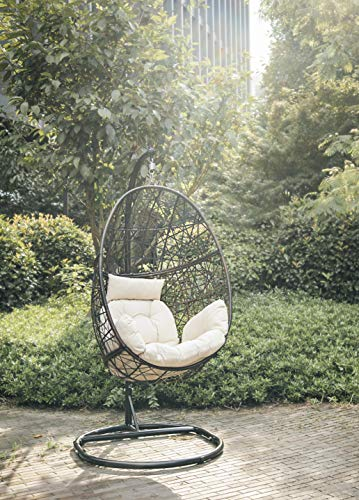 Luckyberry Swing Egg Chair Outdoor Indoor Wicker Tear Drop Hanging Chair with Stand