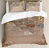 Whale Decor Duvet Cover Set by Ambesonne, Steampunk Whale Flying on Air with Moons and Stars Artistic Hand Drawing, 3 Piece Bedding Set with Pillow Shams, Queen / Full, Brown and White