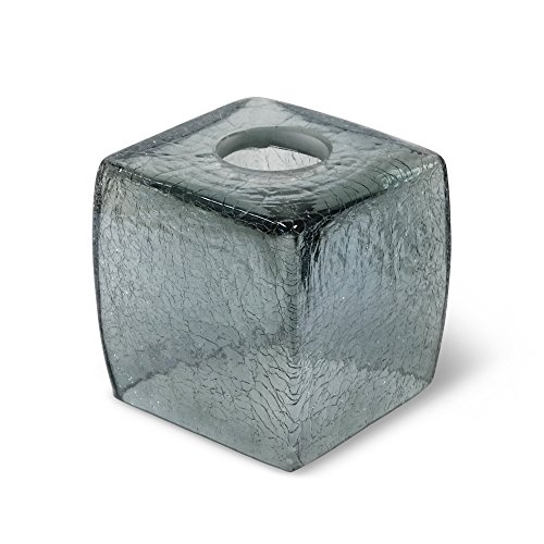 Contemporary Tissue (Veratex Cracked Up Collection Modern Contemporary Style Patterned Glass Bathroom Tissue Cover, Smoke)