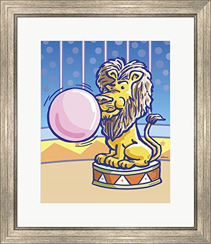 Bubble Gum Lion by Jerry Gonzalez Framed Art Print Wall Picture, Silver Scoop Frame, 22 x 25 inches ()