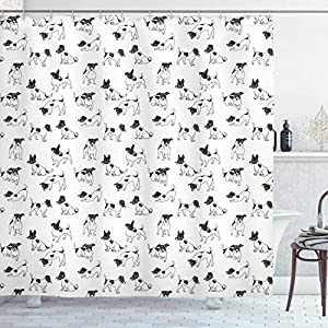 "Ambesonne Dog Lover Shower Curtain, Sketch Style Hand Drawn Jack Russell Terrier Doodles in Various Stances Purebred, Cloth Fabric Bathroom Decor Set with Hooks, 70"" Long, Black and White 23"