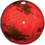 "Unique & Custom {1'' Inch} Set of 3 Big ""Round"" Opaque Marble Made of Glass for Filling Vases, Games & Decor w/ Simple Space Mars Inspired Educational Design [Black & Red Colors] w/ Stands & Pouch"