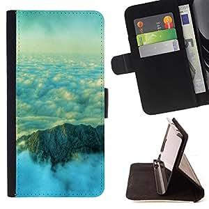 BullDog Case - FOR/Sony Xperia Z1 Compact D5503 / - / Nature Beautiful Mountain Clouds /- Monedero de cuero de la PU Llevar cubierta de la caja con el ID Credit Card Slots Flip funda de cuer