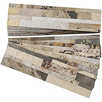 Aspect A9780 Weathered Quartz 4 pcs 5.9 x 23.6 Peel and Stick Stone Backsplash Tile