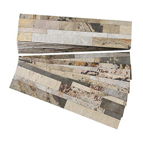 Aspect Peel and Stick Stone Overlay Kitchen Backsplash - Medley Slate (Approx. 15 sq ft Kit) - Easy DIY Tile ()