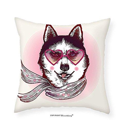 VROSELV Custom Cotton Linen Pillowcase Cartoon Decor Hipster Husky Dog with Heart Shaped Sunglasses and Scarf Fashion Animal Art Print Bedroom Living Room Dorm Decor Pink Cream Black - Tumblr Heart Sunglasses