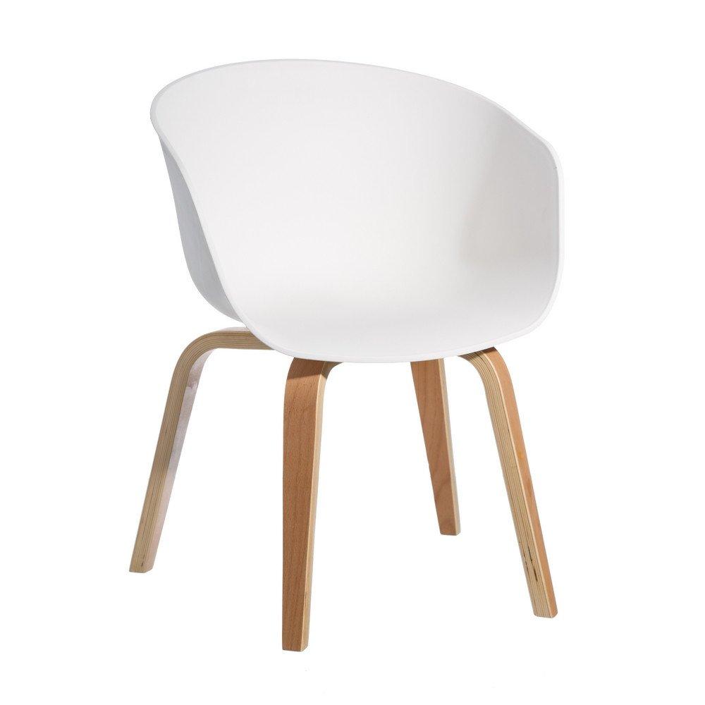 Chaise Blanc pp-madera moderne salon 58 x 51 x 76 cm