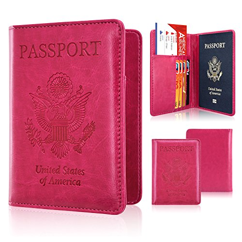 Passport Holder Cover, ACdream Travel Leather RFID Blocking Case Wallet for Passport, Hot Pink