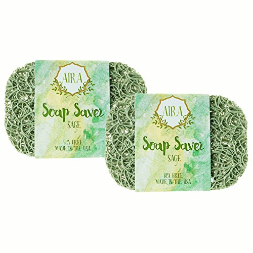 Aira Soap Saver - Soap Dish & Soap Holder Accessory - BPA Free Shower & Bath Soap Holder - Drains Water, Circulates Air, Extends Soap Life - Easy to Clean, Fits All Soap Dish Sets - Sage Double Pack