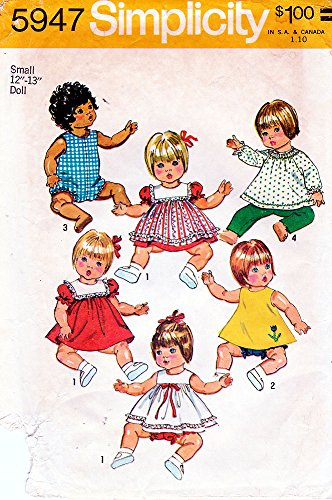 (Ship From USA) Wardrobe for Vinyl Body Baby Dolls--Simplicity Pattern 5947--Small / Small 12'-13' Doll,20 Pieces--Dress, Pinafore, Top, Panties, Romper, Long Pants, etc., -
