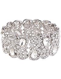 Women's Austrian Crystal Teardrop 8-Shaped Knot Elastic Stretch Bracelet Clear