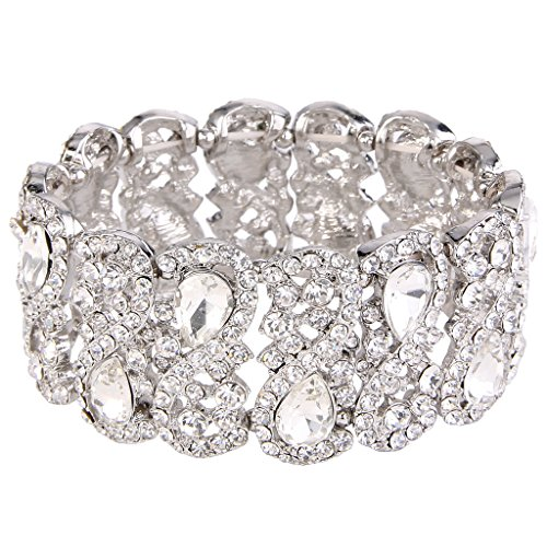 EVER FAITH Women's Austrian Crystal Teardrop 8-Shaped Knot Elastic Stretch Bracelet Clear Silver-Tone