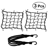 3 Pack Motorcycle Luggage Net - 2 Pack Heavy Duty 40cm x 40cm + 30 x 30cm Elastic Cargo Net and 60cm Helmet Cord Rope for Motorcycle