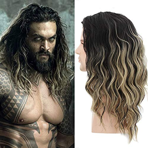 Menoqi Men Wigs Short Curly Male Hair Shoulder Length Ombre Golden Gradient Wigs Movie Cospaly Costume Wigs WIG170 for $<!--$19.85-->